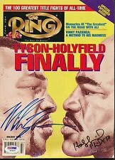 Mike Tyson Evander Holyfield Signed The Ring Magazine Auto PSA/DNA Y03630
