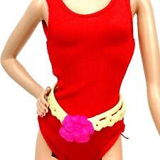 Barbie Accesorio tan Cinturón Con Adorno De Flor Rosa Nuevo