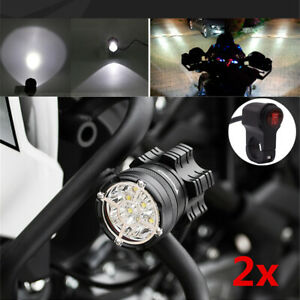 2x High Power LED Motorcycle Dirt Bike Fog Spot Light Waterproof w/ Cable Switch