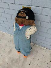 "Vintage Time Out Hide & Seek Corner Doll Boy Overalls Brown Hair Hat 26"""
