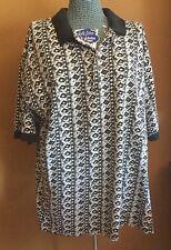 Vintage 1990s Men's Knit Shirt River Island Print Golf Polo Size 1X 100% Cotton