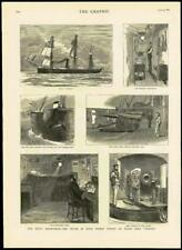 1883 Antique Print ROYALTY PRINCE GEORGE HMS CANADA MIDSHIPMAN SPONSON GUN (130)