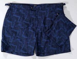 Men's Monaco Thunderbolt Navy Printed Swim Trunks W/Carry Bag 36 MSRP $148 NWT