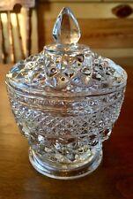 Vintage ANCHOR HOCKING Wexford Diamond Point Sugar Bowl with Lid Farm Kitchen