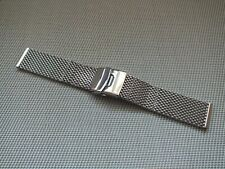 Polished Stainless Steel double Loop Shark Mesh Safety Clasp Watch Strap 24mm