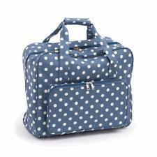 Heavy Duty Sewing Machine Hobby Travel Bag Matt PVC Denim Blue & White Polka Dot