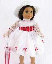 """Mary Poppins Inspired Outfit Fits 18"""" American Girl Doll Dress Umbrella 4pc"""