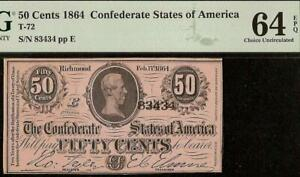 UNC 1864 CONFEDERATE CURRENCY 50 CENT FRACTIONAL CIVIL WAR NOTE T-72 PMG 64 EPQ
