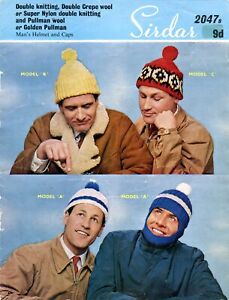 Sirdar 2047B Mens Adults Knitting Pattern Booklet Beanies Helmet Caps Balaclava
