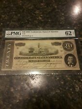 Rare, exceptional Pmg Ms62 Confederate $20 Bill