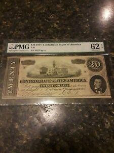 "PMG Graded,"" Exceptional "" 62 Unc. 1864 Confederate $20 Bill"
