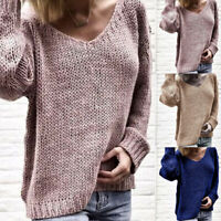 Women Chunky Jumper Knitted Long Sleeve Sweaters V Neck Tops Pullover Casual FG