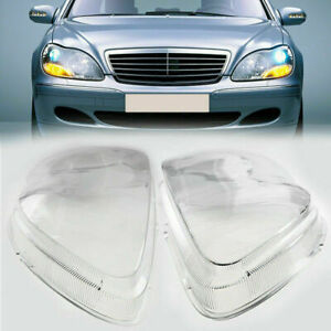 1 Pair Front Headlight Shell Cover Clear For Benz S350/S430/S500 W220 1998-2005