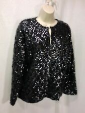 Sequin Cardigan Hook and Eye Closure 46 Lined Shanghai Express Black all over