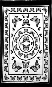 White Butterfly Mandala Cotton Wonderful Design Wall Hanging Tapestry Poster Art