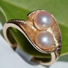 14k yellow gold 6mm pearl ring size 5.25 vintage handmade 4.1gr
