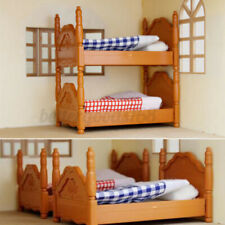 Doll House Miniature Plastic Bunk Bed Furniture Set Kids Role Pretend Toy