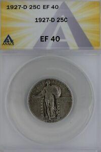 1927-D  .25  ANACS   EF 40   Standing Liberty Quarter, Liberty 25 Cents