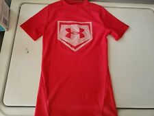 BOYS UNDER ARMOUR RED FITTED HEAT GEAR SHIRT SIZE YOUTH SMALL