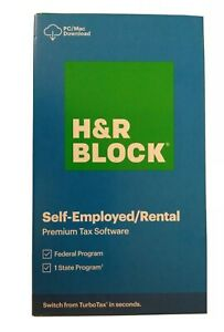2020 H&R BLOCK SELF-EMPLOYED RENTAL PREMIUM SOFTWARE FEDERAL STATE Download Only