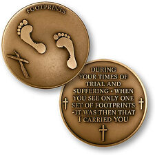 Lord's Footprints in the Sand - Bronze Challenge Coin NEW