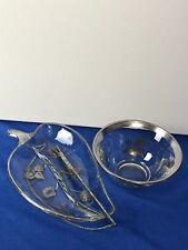 Vintage Mid Century Modern Georges Briard Glass Relish Dish W Silver Fork & Bowl
