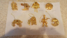 Mixed Lot Danbury Mint Gold Plated Christmas Ornaments Collection Lot of 8
