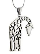 Giraffe Necklace - 925 Sterling Silver - Large Pendant Giraffes Zoo Animal NEW