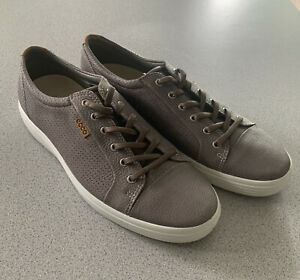 Nwob Ecco Soft 7 Sneakers Mens Size 47 Eu 13 - 13.5 Gray Perforated Leather
