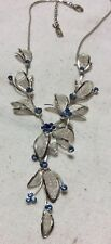 Blue Sapphire  Rhinestone Choker/Bib Necklace. Silvertone Mesh leaves Signed