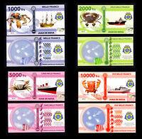 ★★ ILE JUAN DE NOVA ● TAAF ● COLLECTION DE 4 BILLETS : 1000 A 10000 FRANCS ★