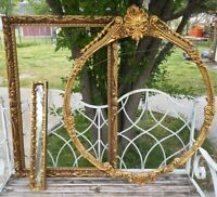 Vintage antique Lot Gold Ornate PICTURE FRAME Recycle Art Deco Estate Sale oval