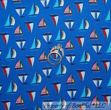 BonEful Fabric Cotton Quilt White Blue Red Sail Boat Ship American Stripe SCRAP