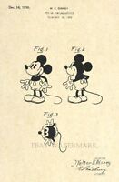 Official Mickey Mouse 1930 US Patent Art Print - Vintage Walt Disney -Antique 49