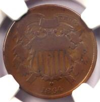 "1864 ""Small Motto"" Two Cent Coin 2C - NGC VG Details - Rare Small Variety!"