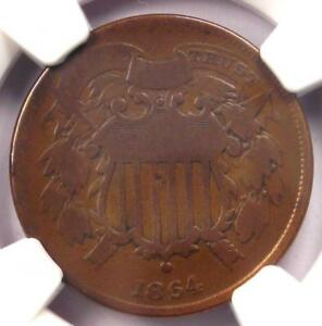 """1864 """"Small Motto"""" Two Cent Coin 2C - NGC VG Details - Rare Small Variety!"""