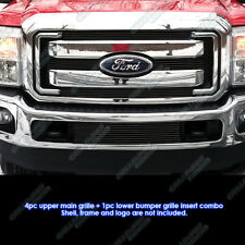 Combo: Fits 2011-2015 Ford F250/F350 SD XLT/Lariat/King Ranch Black Billet Grill