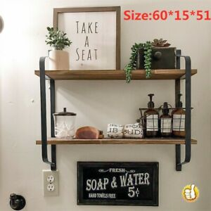 Large Wooden Rustic Industrial Pipe Wall Floating Shelf Storage Shelving Unit UK