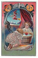New ListingAntique Halloween Postcard Series 5 Witch Broom Children Bob Apples Cat Silver