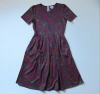 LuLaRoe Amelia in Purple Red Rose Floral Print Pleated A-line Dress L