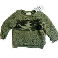First Impressions Camo Green Fuzzy Sherpa Fleece Sweatshirt Boys Size 3-6 Months