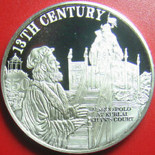 1997 COOK ISLANDS $50 SILVER PROOF MARCO POLO KUBLAI KHAN 13th CENTURY KM#325.1