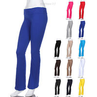 Cotton Fold Over Waistband Full Length Long Athletic Fitness Yoga Pants S M L