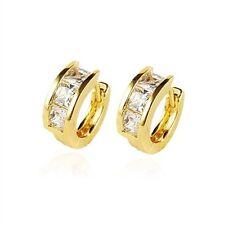 18K Yellow Gold Filled CZ Hoop Earrings (E-124)