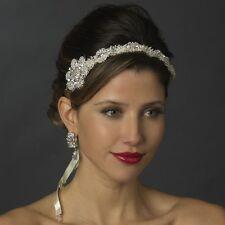White or Ivory Silver Rhinestone Crystal Satin Ribbon Bridal Wedding Headband