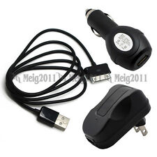 USB Cable+Car+Wall Charger for Samsung GALAXY Tab 10.1 10.1v SCH-i905 SGH-T859