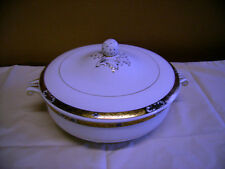BOOTHS  Ltd    LIDDED TUREEN IN WHITE WITH A GOLD AND BLACK PATTERN TO RIM