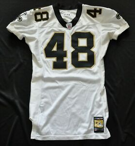 NEW ORLEANS SAINTS #48 REEBOK GAME CUT ISSUED TEAM WHITE JERSEY 2001 sz 44+2