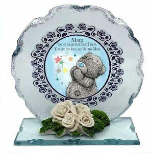Mam, Mum Mother's Day Gift Cut glass Plaque Keepsake Teddy Bear design #1