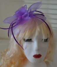 Purple Hat Fascinator Large 20cm Feathers Flower Wedding Hats Ladies Day Races